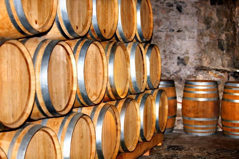桶酒在酿酒厂。 免版税库存图片