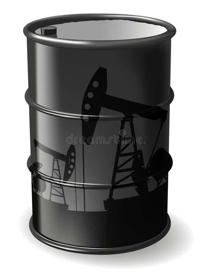 桶黑色例证油红色向量白色 库存例证
