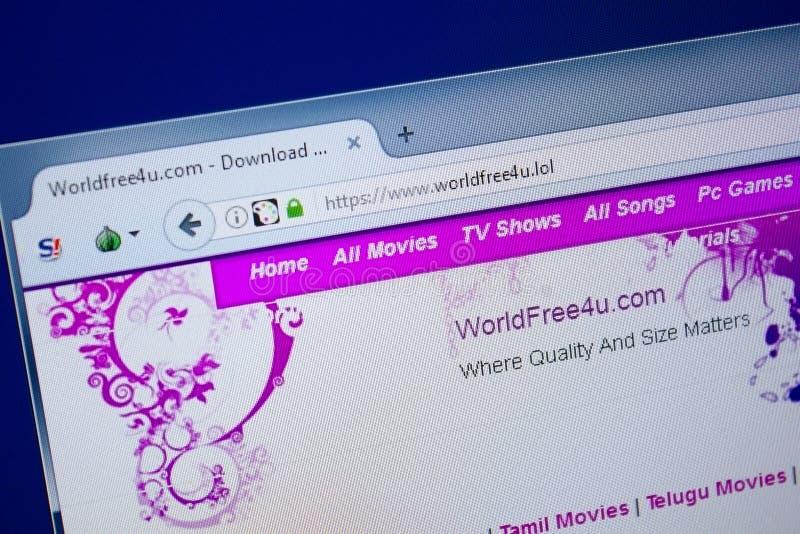 梁赞,俄罗斯- 2018年9月09日:世界Free4u网站主页个人计算机, URL - WorldFree4u显示的  LOL 库存照片