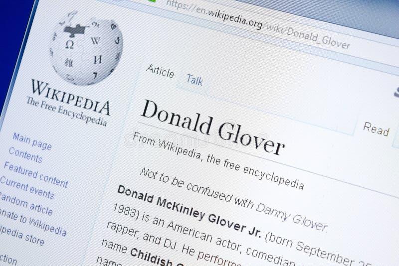 梁赞,俄罗斯- 2018年8月28日:关于唐纳德手套贩卖商的维基百科页在个人计算机显示  图库摄影