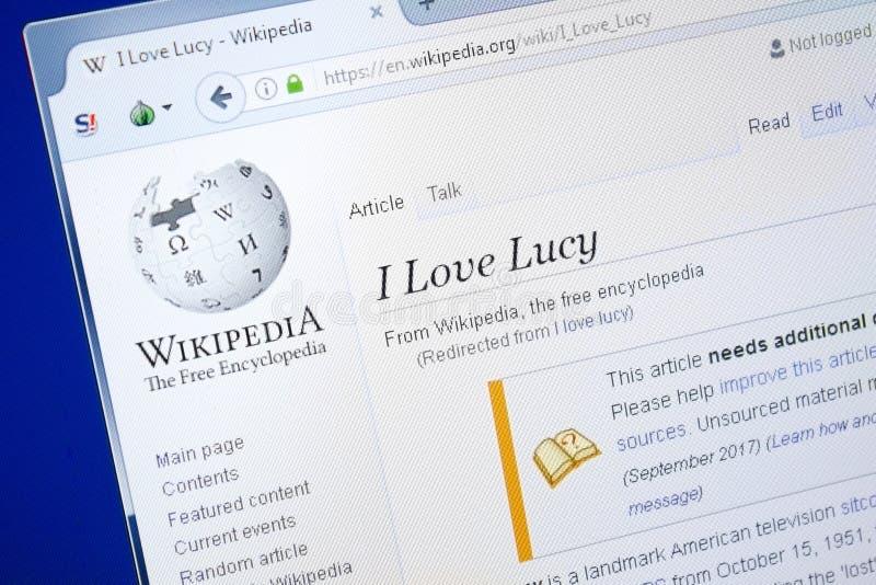 梁赞,俄罗斯- 2018年8月28日:维基百科页我爱个人计算机显示的露西  免版税图库摄影