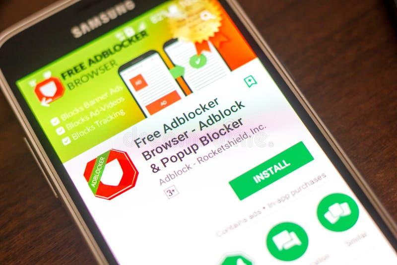梁赞,俄罗斯- 2018年5月04日:自由Adblocker浏览器在手机显示的流动app  免版税库存照片