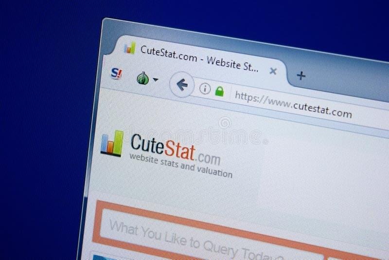 梁赞,俄罗斯- 2018年9月09日:逗人喜爱的Stat网站主页个人计算机, URL - CuteStat显示的  com 免版税库存图片