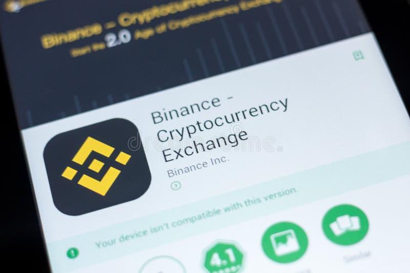 梁赞,俄罗斯- 2018年7月03日:Binance - Cryptocurrency交换在片剂个人计算机显示的流动app  库存图片