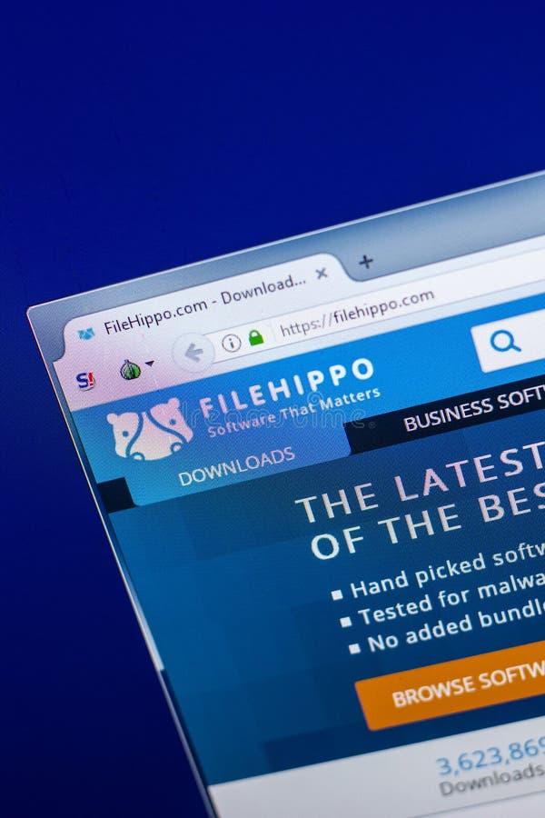 梁赞,俄罗斯- 2018年4月29日:Filehippo网站主页个人计算机, URL - Filehippo显示的  com 免版税库存照片