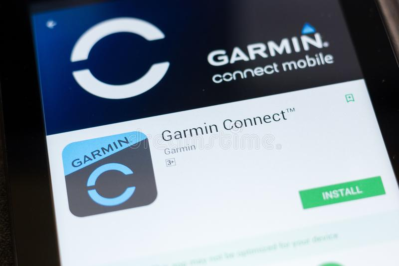 梁赞,俄罗斯- 2018年6月24日:Garmin连接在片剂个人计算机显示的流动app  库存照片