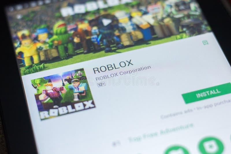 梁赞,俄罗斯- 2018年4月19日- Roblox在片剂个人计算机显示的流动app  图库摄影