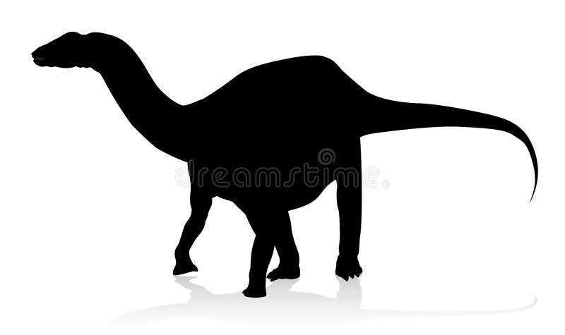 梁龙恐龙剪影 向量例证