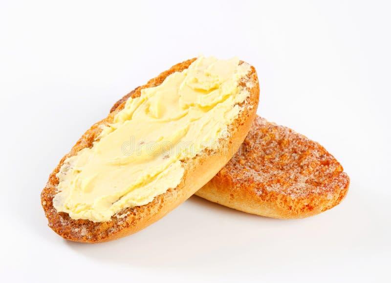 梅尔巴吐司用黄油 免版税库存图片