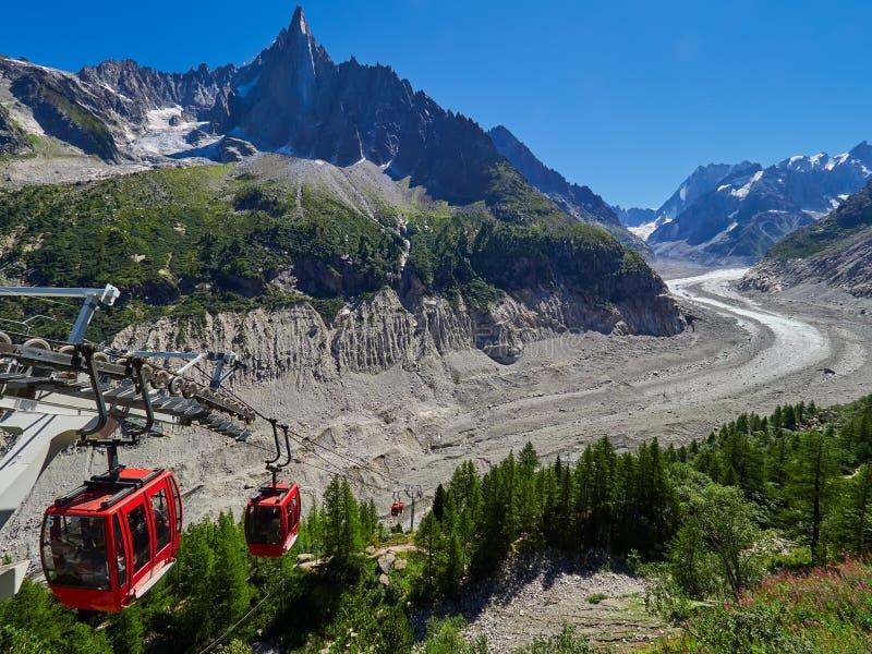 梅尔De Glace Glacier -勃朗峰断层块,夏慕尼,法国美丽的景色  免版税库存图片