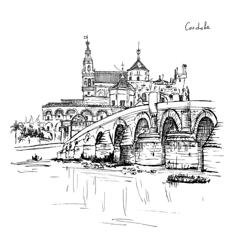 梅斯基塔和罗马桥梁在科多巴,西班牙 皇族释放例证