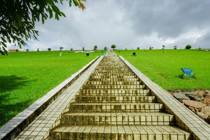 梅林水库,深圳,在水坝的步 免版税库存照片