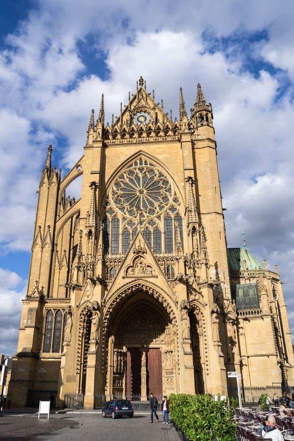 梅茨,法国欧洲- 9月24日:圣徒E大教堂Vew  免版税库存照片
