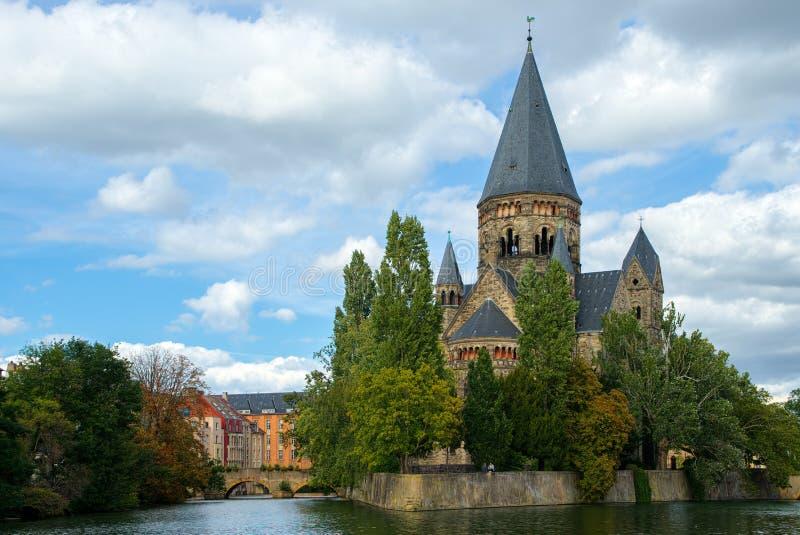梅茨, LORRAINE/FRANCE - 9月24日:寺庙Neuf看法在我的 免版税图库摄影