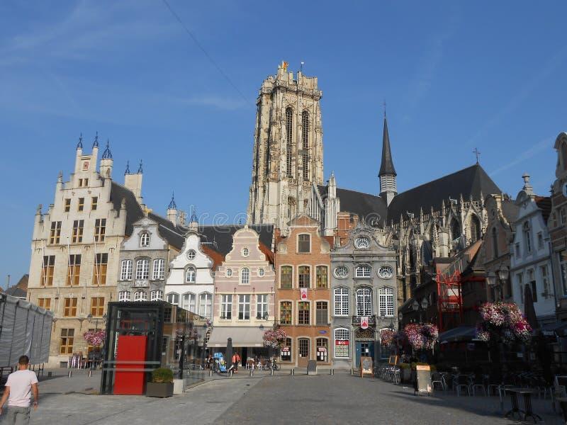 梅赫伦美丽的景色,在flamish比利时 免版税库存照片