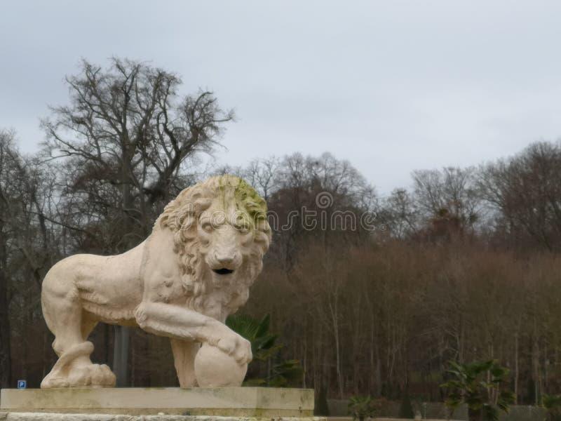 梅迪奇狮子的雕塑有一个球的在圣克卢公园全国领域的爪子  免版税库存照片