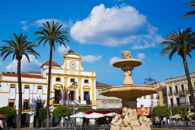 梅里达在西班牙Plaza de西班牙广场巴达霍斯 库存图片