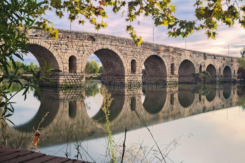 梅里达罗马桥梁  库存照片