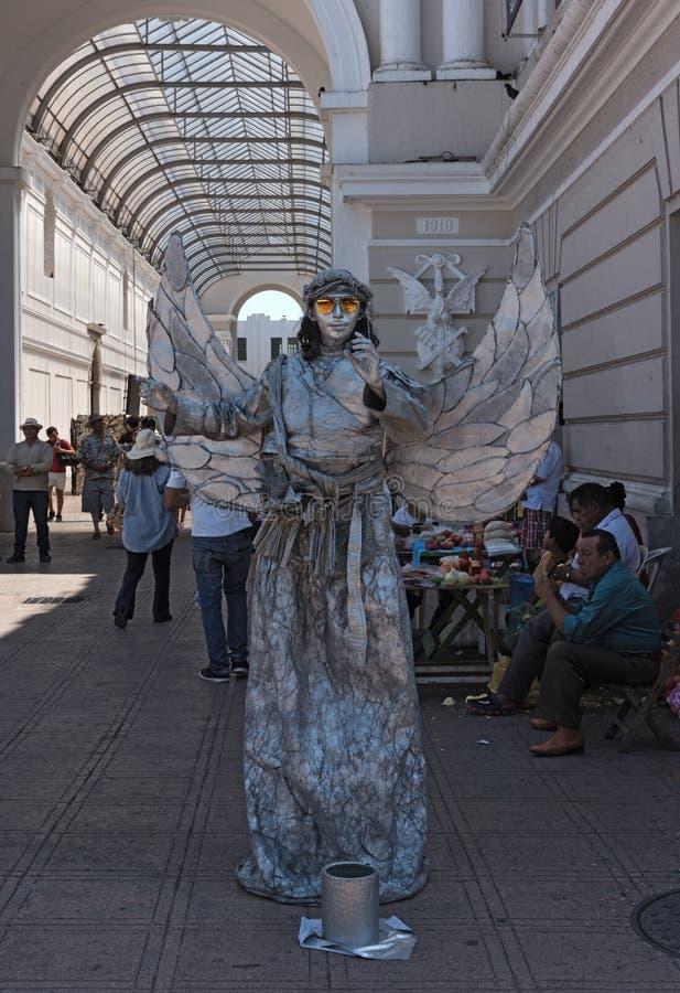 梅里达街道节日的在星期天银色街道艺术家,在革命的段落前面,梅里达,墨西哥 免版税库存照片