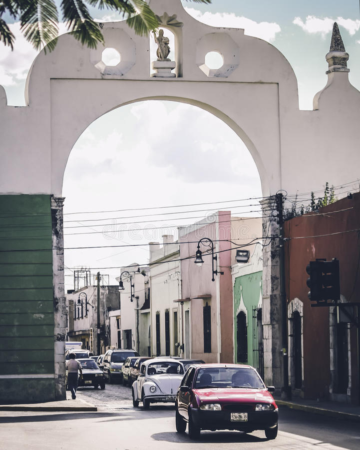 梅里达,墨西哥街道  免版税库存照片