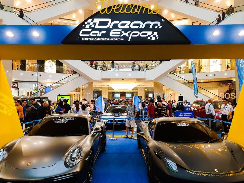 梦想中的汽车商展,在柏威年广场举行的马来西亚汽车陈列在武吉免登 库存照片