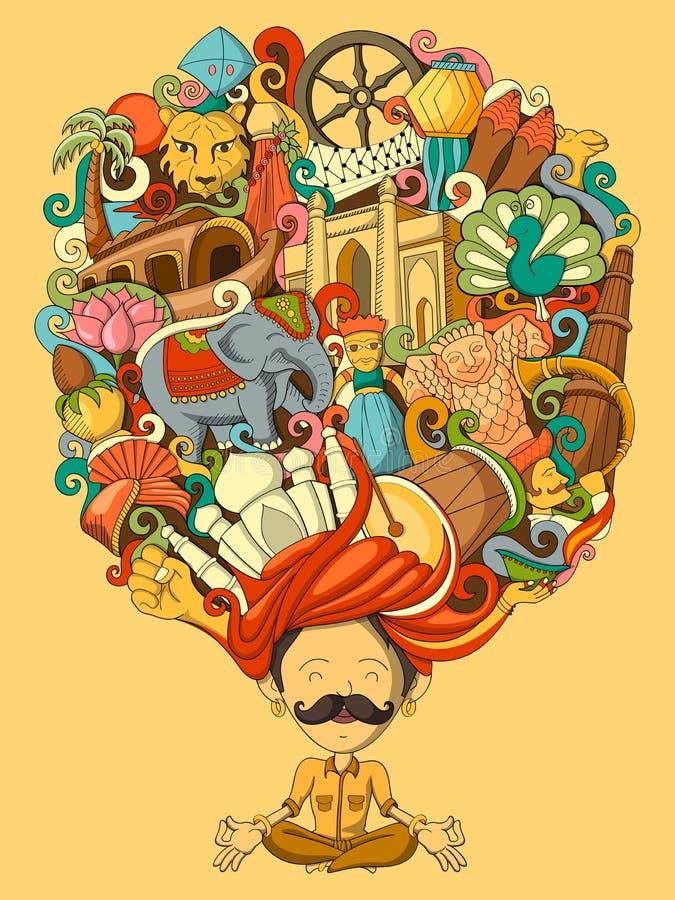 梦想和认为印地安人 向量例证