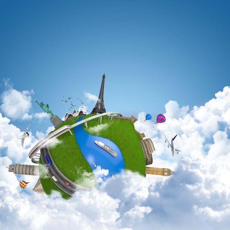 梦想地球旅行的世界 皇族释放例证