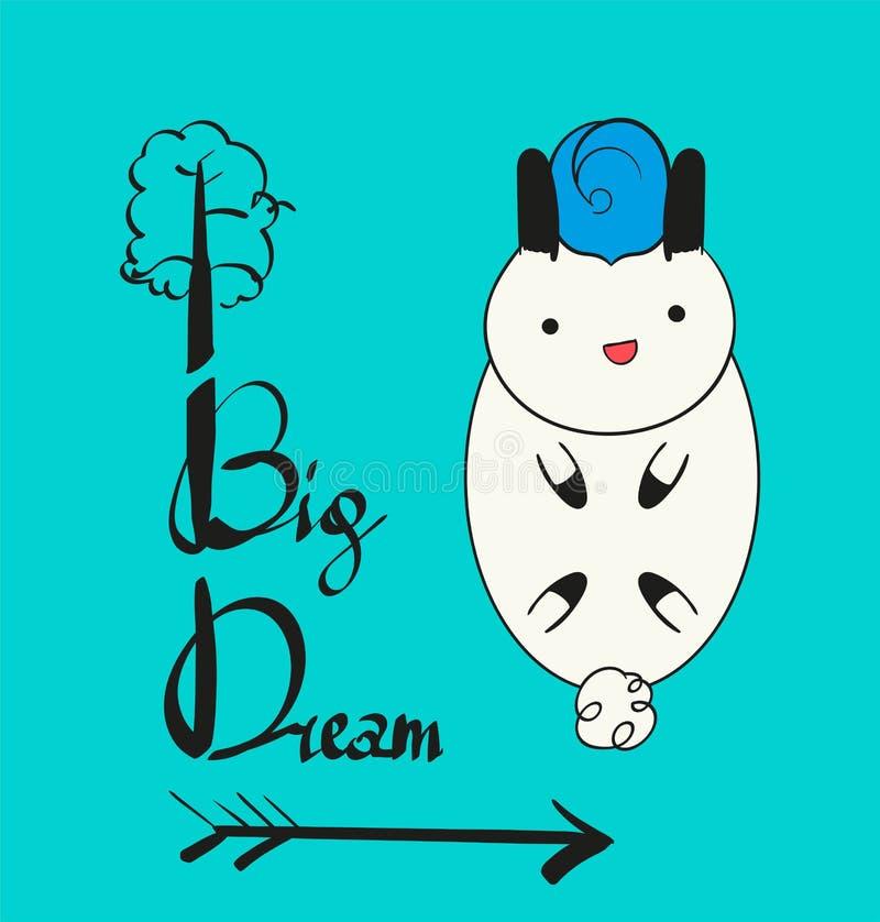 梦想大小一个 在一个气球的逗人喜爱的兔宝宝飞行有云彩和星的 婴孩,孩子海报,墙壁艺术,卡片,婴儿送礼会invitat 库存图片