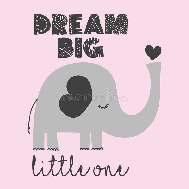 梦想大小一个-逗人喜爱的大象装饰 库存例证