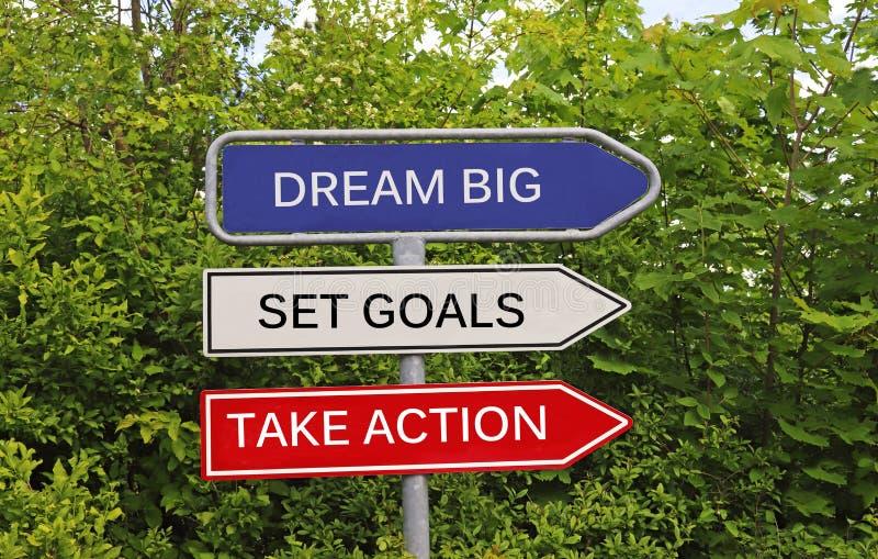 梦想大,集合目标,采取行动 免版税库存图片