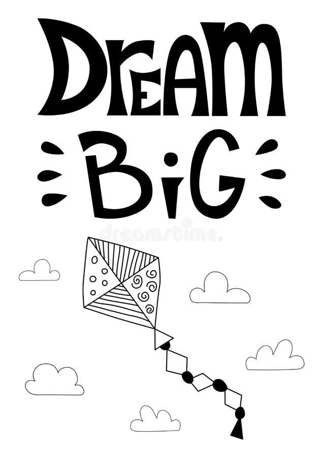 梦想大 与一只风筝的海报在传染媒介的云彩 向量例证