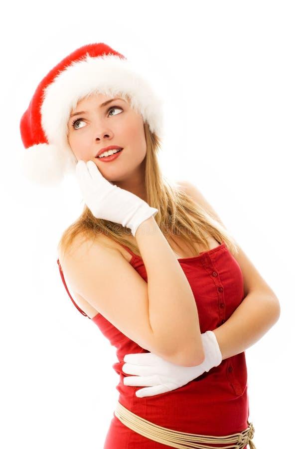 梦想女孩帽子s圣诞老人佩带 免版税库存照片