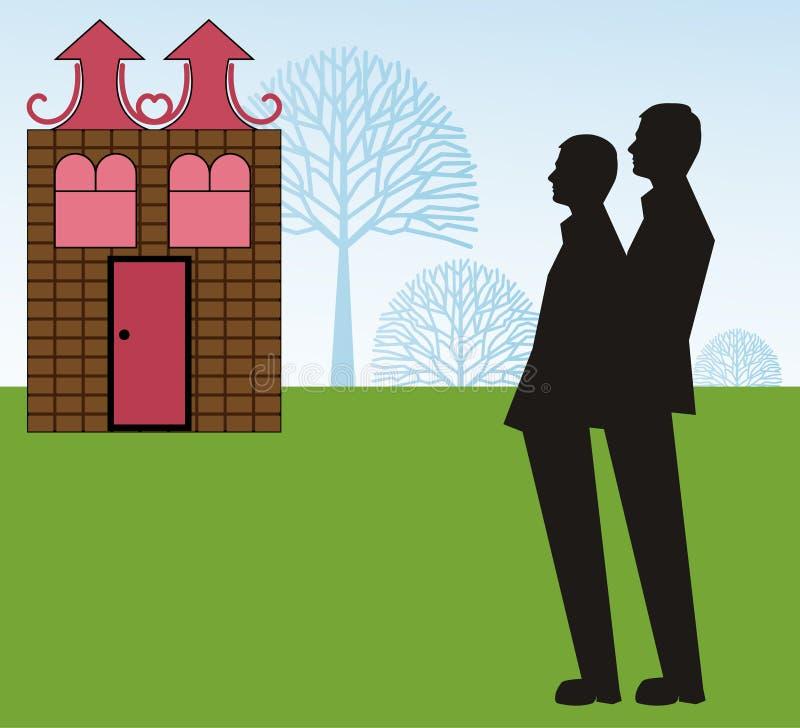 梦想家庭快乐夫妇 向量例证