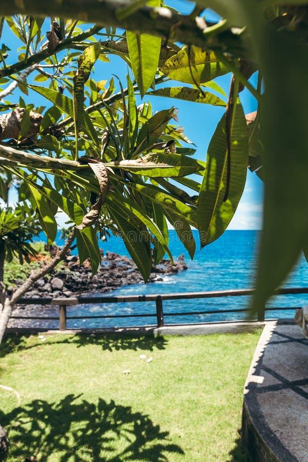 梦想海岛 与岩石和对比天空蔚蓝的狂放的热带海滩 巴厘岛 库存照片