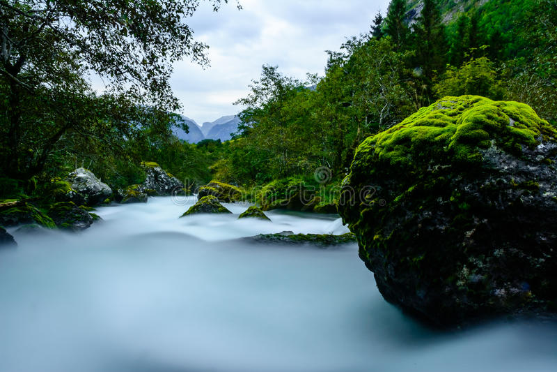 梦想的河, NP福尔格冰川,挪威 库存照片