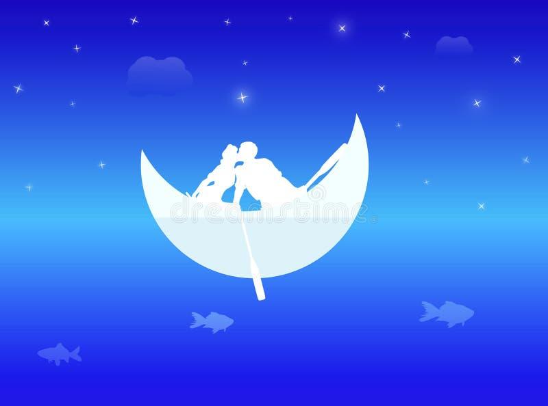 梦想的爱在蓝色海洋  库存例证
