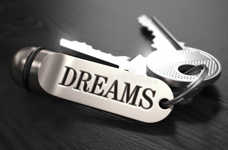 梦想的钥匙 在金黄Keychain的概念 向量例证