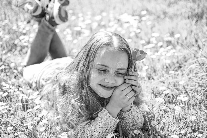 梦想的面孔的女孩拿着红色郁金香花,享受芳香 春假概念 孩子享受春天好日子,当说谎时 库存图片