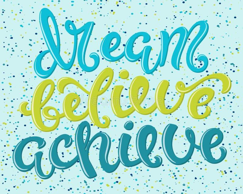 梦想相信达到 向量例证