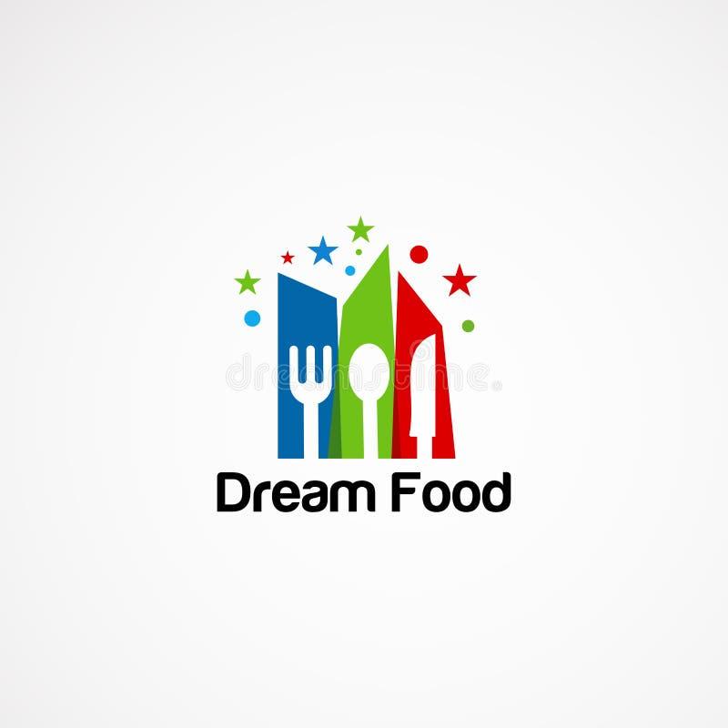 梦想食物商标传染媒介,与一点星概念、象、元素和模板公司的 库存例证
