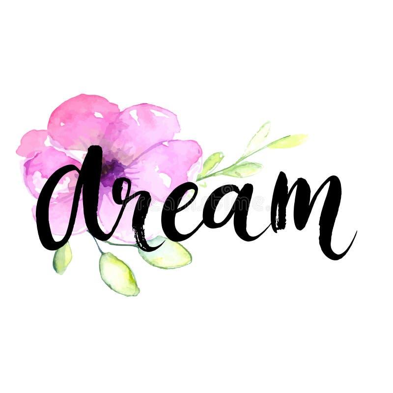 梦想-在淡色紫罗兰的激动人心的词 库存例证