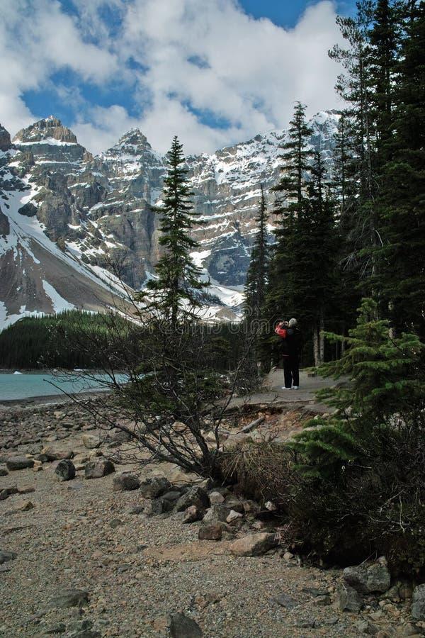 梦莲湖,班夫国家公园,亚伯大,加拿大 库存照片