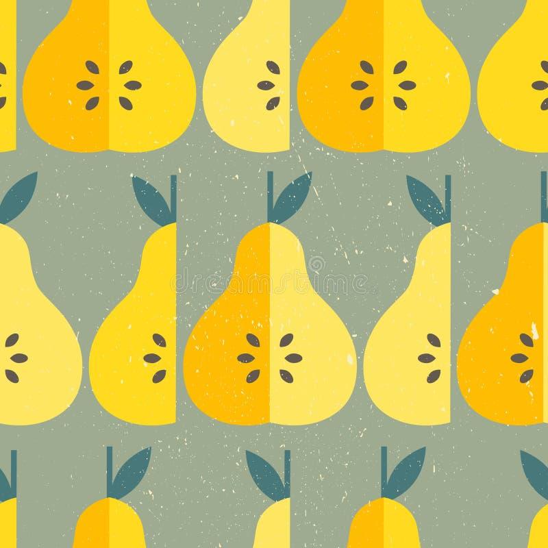 梨和叶子,装饰背景 五颜六色的samless样式用果子 向量例证