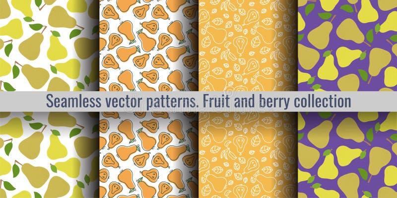 梨无缝的样式集合 公爵夫人 时尚设计 厨房桌布、帷幕或者洗碗布的果子印刷品 手拉的乱画 皇族释放例证