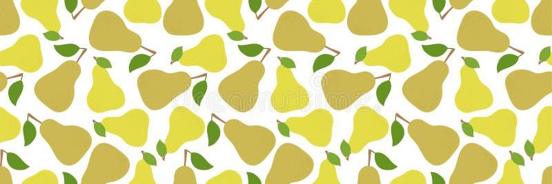 梨无缝的样式 手拉的新鲜的黄色果子 时尚设计 r 厨房桌布的食物印刷品 皇族释放例证