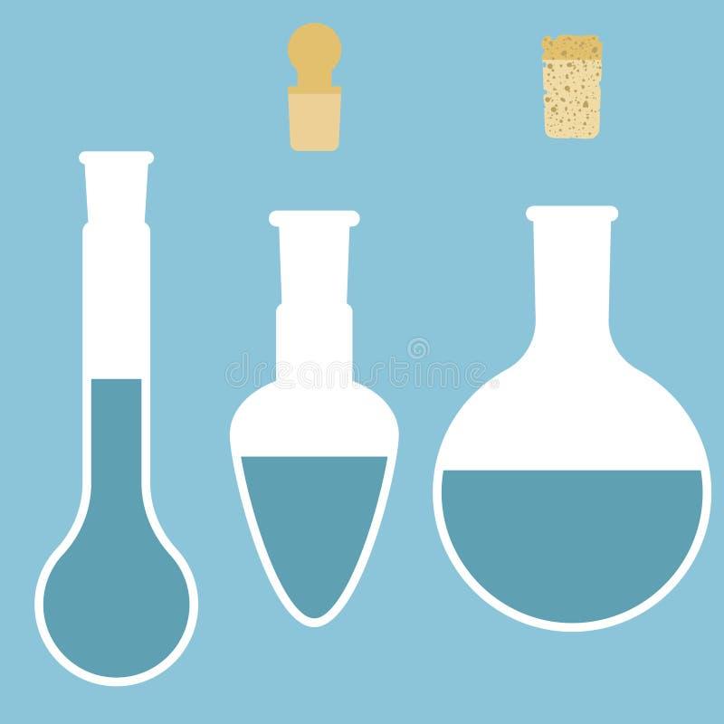 梨状的烧瓶,round-bottomed烧瓶, 向量例证