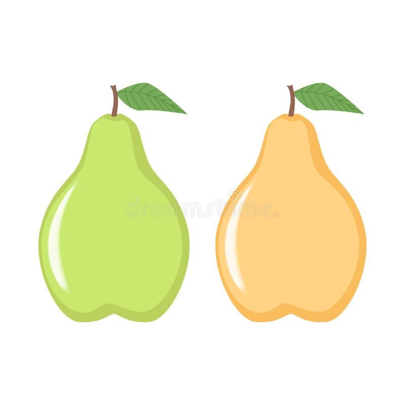 梨象,绿色和黄色梨象剪贴美术 Clipart动画片果子象 库存例证