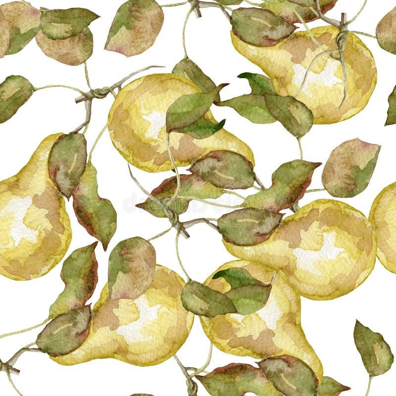 梨水彩的无缝的样式 皇族释放例证