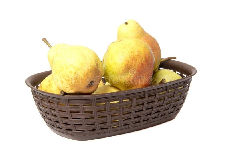 梨 梨收获果子背景 在老袋装的新鲜的有机梨 土气b梨秋天收获水多的美味梨  库存图片