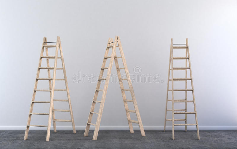 梯凳在空的屋子里 向量例证